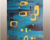 Mid-Century Modern Painting - Original Acrylic on Canvas 18 x 24 - Retro E