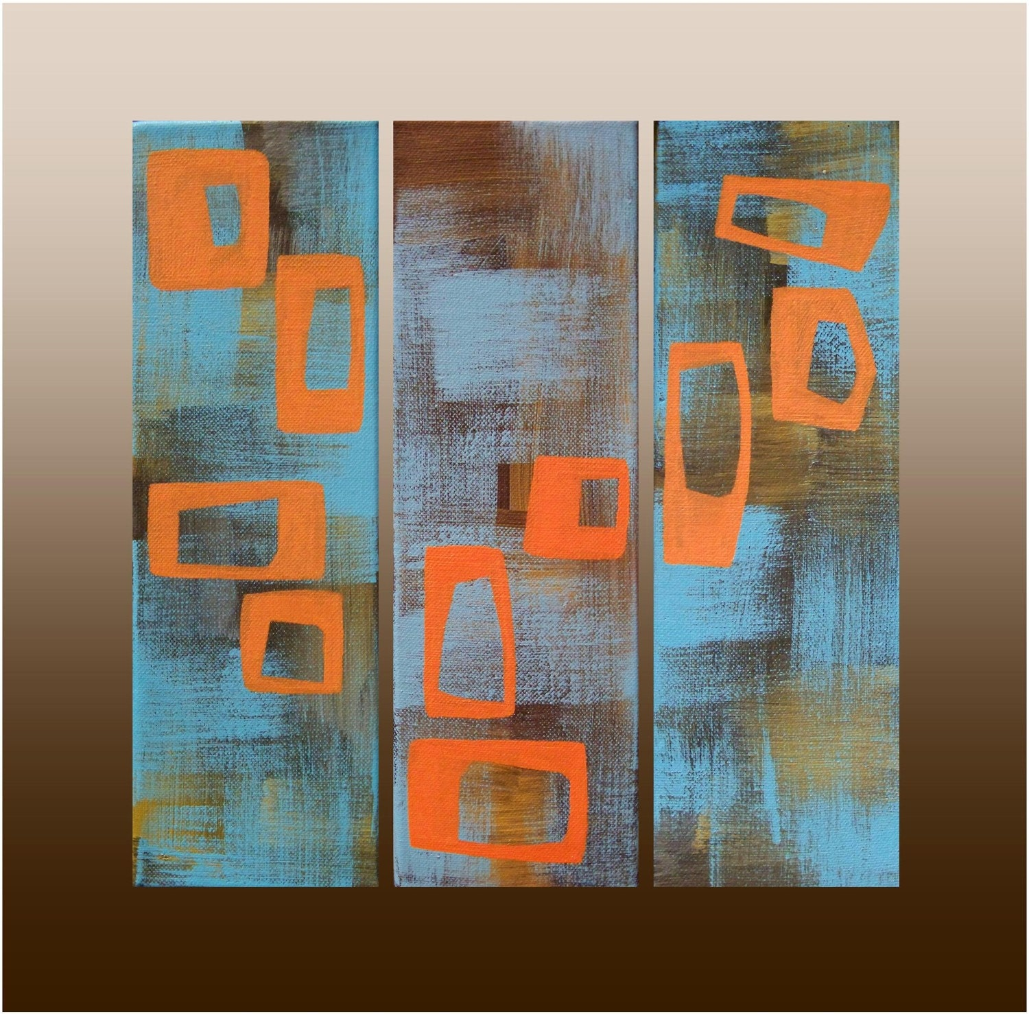 Mid Century Modern Painting Original Acrylic On Canvas 3