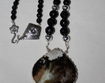 Natural Zebra Jasper Pendant and Faceted AAA Grade Black Onyx Beads, Handcrafted, One of a kind