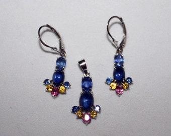 Ceylon Sapphire, Blue Sapphire, Pink Sapphire, Yellow Sapphire, Jewelry Set/Appraisal Included