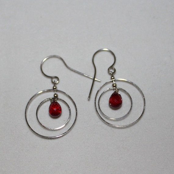 Sale- Natural, 3.50cts, Ruby Earrings, Handcrafted, One of a kind, WW Free Shipping (Was 349.00)
