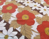 RESERVED - Big and Bold Flowers In The Fall - Vintage Fitted Bedsheet