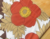 RESERVED - Big and Bold Flowers In The Fall - Vintage Flat Bedsheet