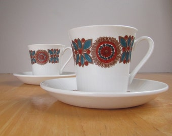 "Figgjo Flint Cup and Saucers - Turi Design -  ""Astrid"" Pattern"