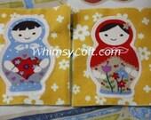 Matryoshka Doll Applique 2pc -cotton and felt