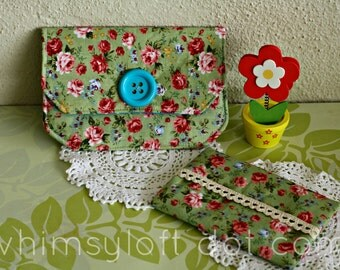 Green Rose Purse Pouch FREE Tissue Holder