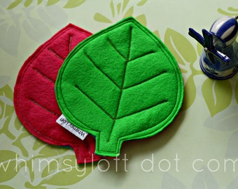 Leaf COASTERS felt - Green Pink