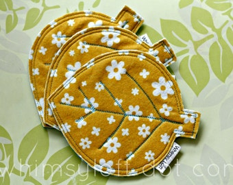 Leaf NON SLIP COASTERS felt - Yellow printed felt