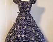 1950 Vintage Full Skirt Blue Embroidered Party Dress Rockabilly Wedding Formal