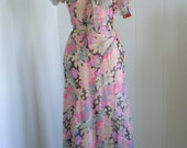 1930's Vintage Black and Pink Chiffon Floral Dress