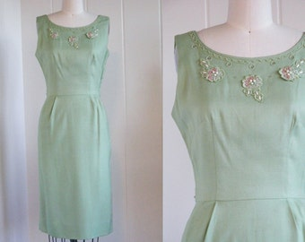 1950's Vintage Key Lime Green Wiggle Dress with Flower Appliques