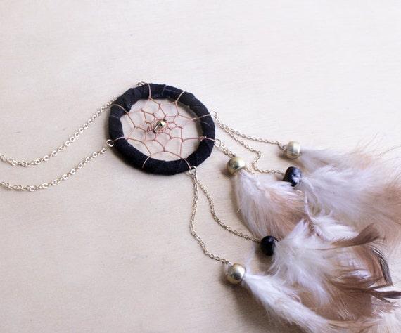Noir Suede Dreamcatcher Necklace