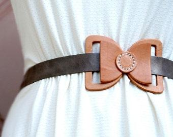 Leather Bow Belt - Gray Leather belt , bowtie belt - waist belt, wedding sash, dress sash,- BOGO SALE