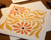 Deco Daisy GOLD or SAFFRON folded square card