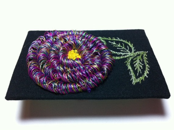 Loopy Flower Original ACEO Free Motion Embroidered Stitched on a Treadle Sewing Machine