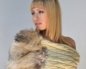 Infinity Fur Shrug - Taupe & Beige Cowl Scarf in Cable Knit and Coyote with Rhinestones Embellishment