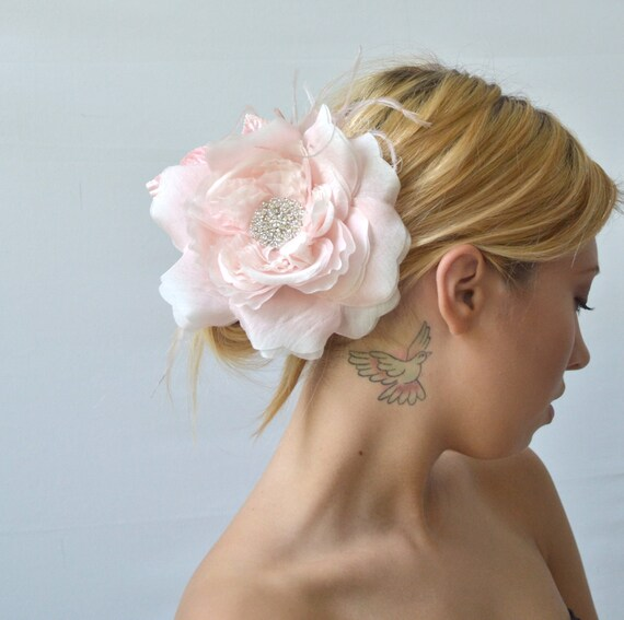 Flower Hair Clip - Bridal Accessory in Delicate Pink with Rhinestone Heart