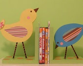 Wooden bird bookends