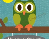 I Love you to the moon and back children's 8x10 print