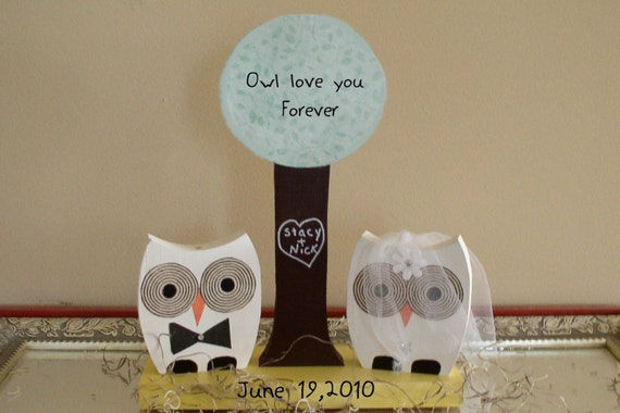 Bride and Groom Owl Centerpiece