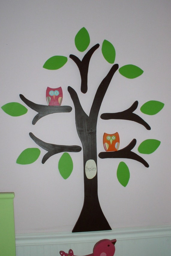 Wooden Owl Wall Decor : Items similar to small owl for wooden tree wall decor on etsy