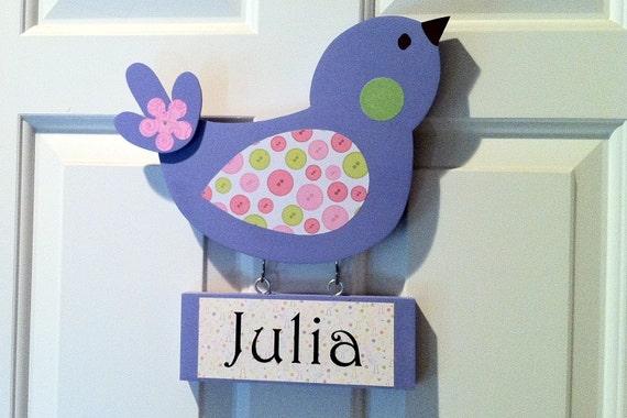 nursery decor, bird nursery decor, bird door hanger, baby girl nursery, wooden bird, purple bird, wooden name sign, kid's door sign,