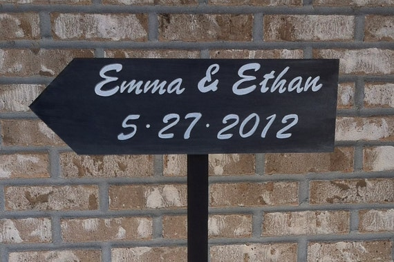 Personalized Free standing Wedding Directional wood Sign on 4ft stake with base
