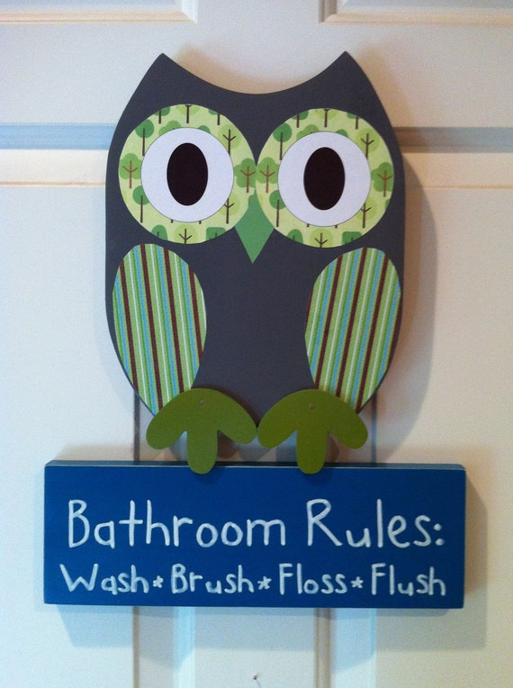 Wooden Owl Bathroom Rules Sign