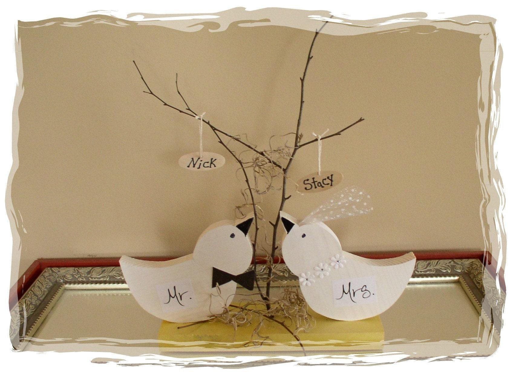 Rustic Wooden Love Birds Wedding Centerpiece Cake Topper
