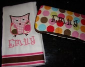 Monogrammed baby burp cloth and matching wipes case