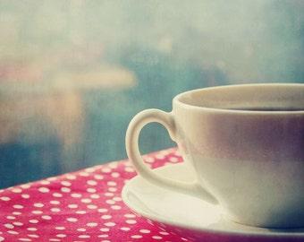 Afternoon Tea. polka dots, red, reflection, earl grey, Fine Art Photograph, 8x10