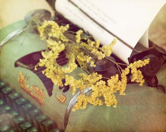 Letters to my Love, Tom Thumb typewriter, Yellow flowers, Love letters, Romance, Fine Art Photograph, 8x10
