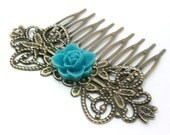 Hair Comb Bright Teal Blue Flower Bridal . LOTUS - Free Shipping