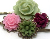 Cyber Monday Etsy Sale - Flower Bobby Pins Green Pink Maroon Olive . APPLE BERRY by hotpinkchick on Etsy