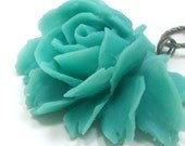 Necklace Flower Teal Turquoise Rose Brass . BELLA - Free Shipping
