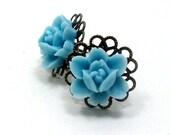 Post Earrings Bright Sky Blue Rose Flower . DAINTY ROSE