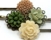 Flower Bobby Pins - Olive Green Tan Ivory by HotPinkChick on Etsy