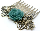 Flower Hair Comb - Teal Blue Rose by HotPinkChick on Etsy