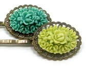 Hair Pins Oval Flower Teal Lime Green . FLIRTY GIRL - Free Shipping
