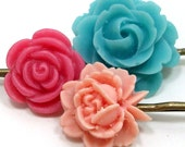 Flower Hair Pins Pastel Teal Pink Peach . PAINTED SKY by hotpinkchick on Etsy