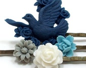 Bird Hair Pins Flower Blue White Gray Grey . SYMPHONY by hotpinkchick on Etsy