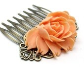 Peach Rose Hair Comb - Large Flower by HotPinkChick on Etsy