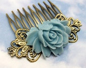 Rose Hair Comb - Light Blue Flower by HotPinkChick on Etsy