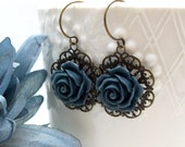Black Friday Etsy Sale - 15% Off Entire Store - Navy Blue Rose Earrings - Victorian Dangle by hotpinkchick by Etsy