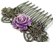 Flower Hair Comb - Two Tone - Purple, White, Rose