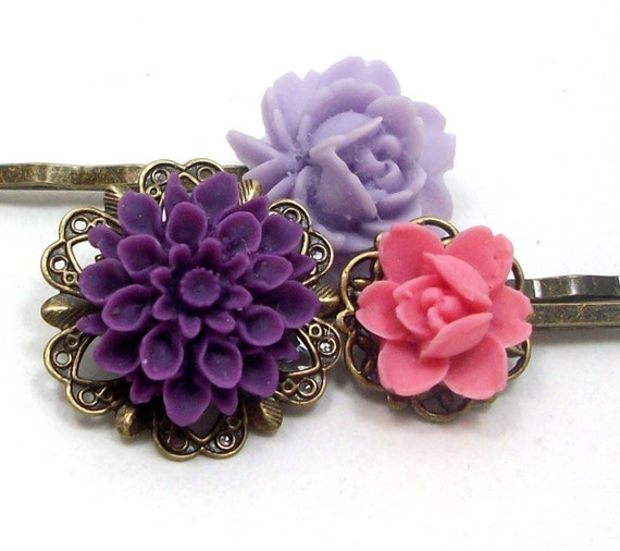 Flower Hair Pins Pink Purple Lilac . BRIDESMAID - Free Shipping