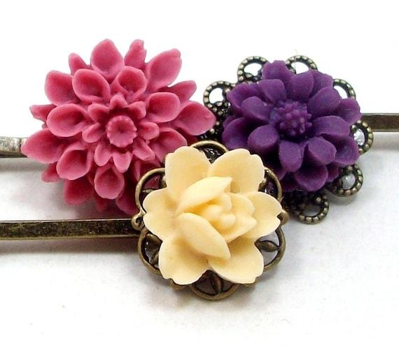 FREE SHIPPING - Flower Hair Pins Purple Pink Yellow Bridal . SPRING FLING