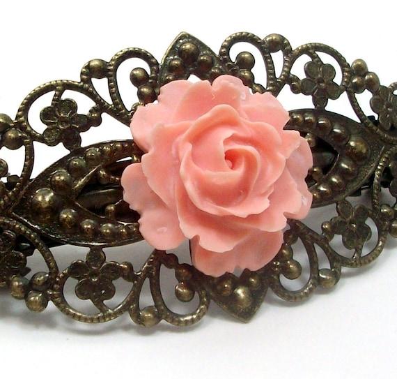 Peach Rose Flower Hair Clip Barrette . ROMANTIC