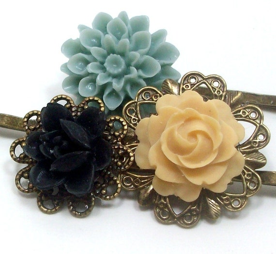 Flower Hair Pins Gray Blue Yellow Black . SAND AND SURF