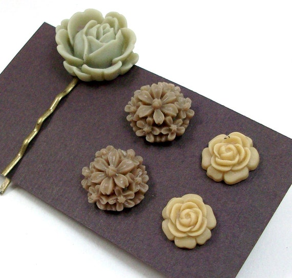 Flower Earrings - Rose Hair Pin - Tan, Brown, Green - Gift Set